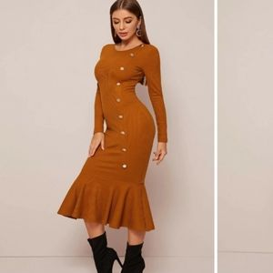 Button Detail Fishtail Hem Rib-Knit Dress